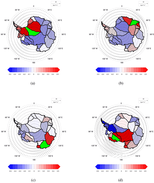 TC - Relations - Overview of areal changes of the ice shelves on the