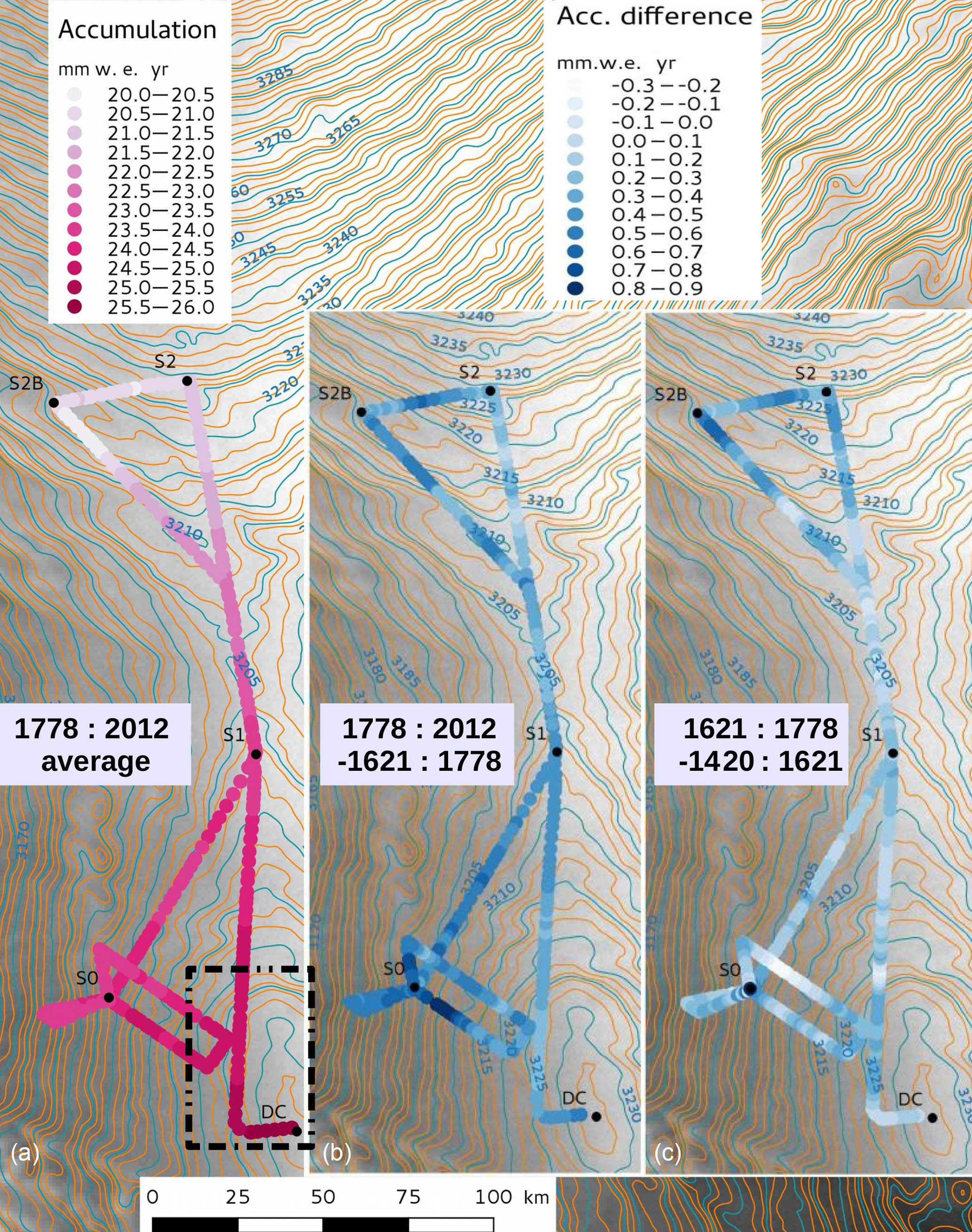 TC - Spatial and temporal distributions of surface mass