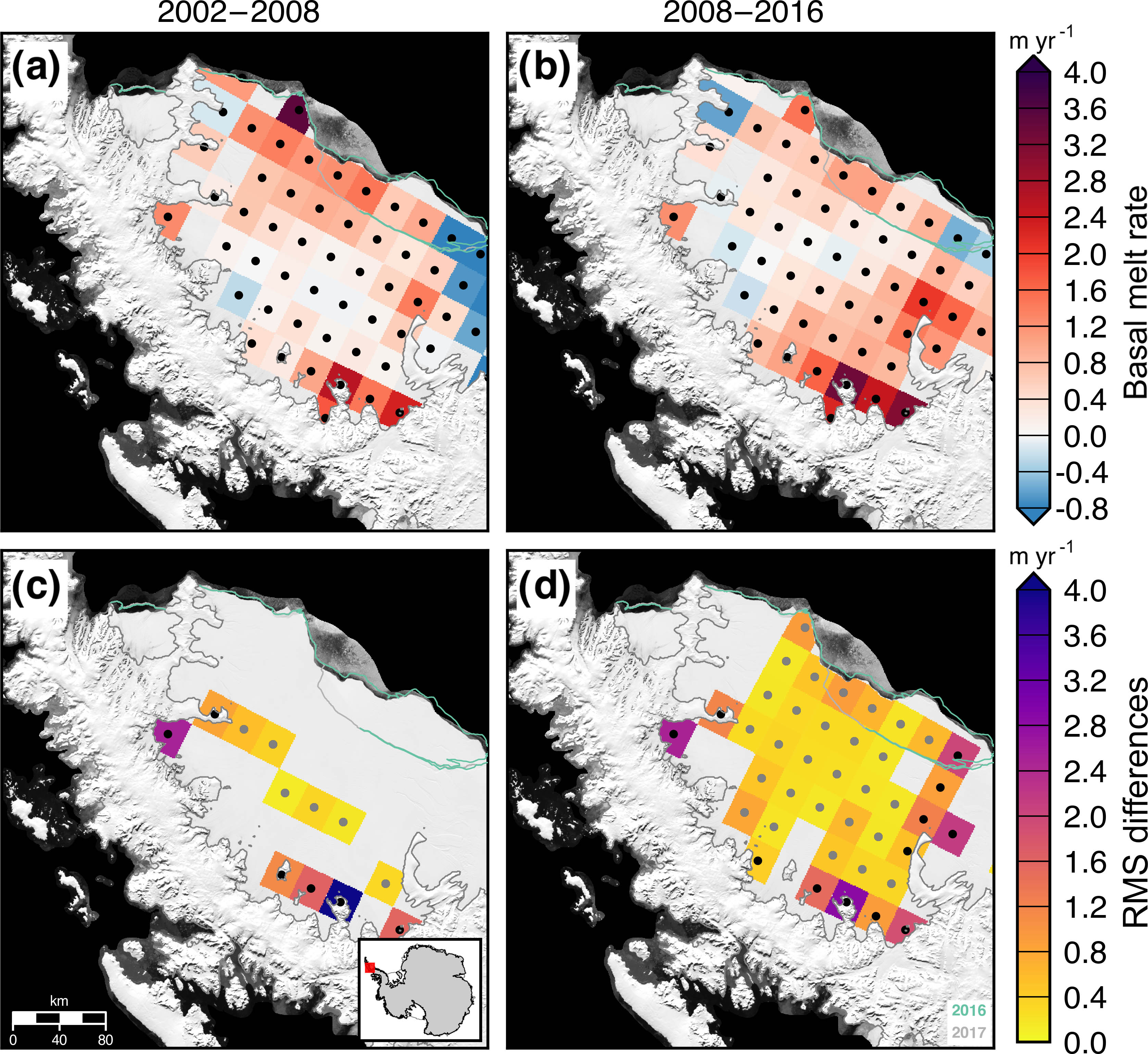 TC - Antarctic ice shelf thickness change from multimission lidar